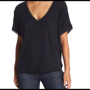 Free People Take Me Tee M Black